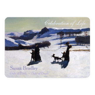 "Snow Fields Customizable Funeral Announcement 5"" X 7"" Invitation Card"