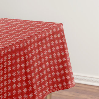 Snow Flake Pattern over a red background Christmas Tablecloth