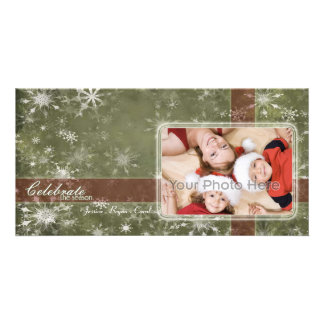 Snow flakes Christmas Holiday Photo card