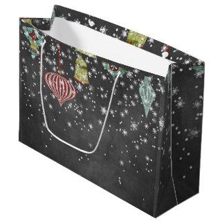 Snow Flakes on Chalkboard | Christmas Ornaments Large Gift Bag