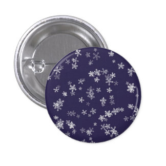 Snow Flakes Small, 1¼ Inch Round Button