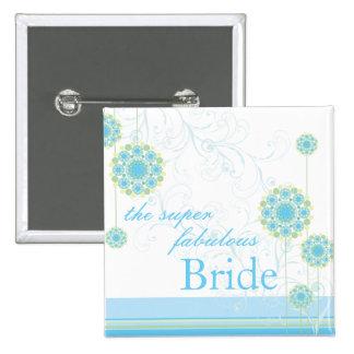 Snow Flower Swirls Blue Bride Custom Button