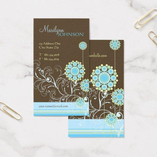 Snow Flower Swirls Blue Chic Wedding Profile Card