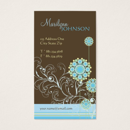 Snow Flower Swirls Blue Chic Wedding Profile Card