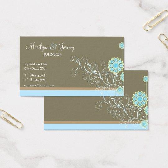 Snow Flower Swirls Blue Custom Profile Card