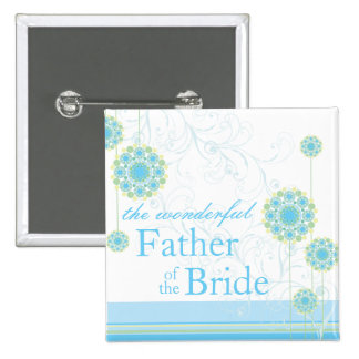 Snow Flower Swirls Blue Father of Bride Button