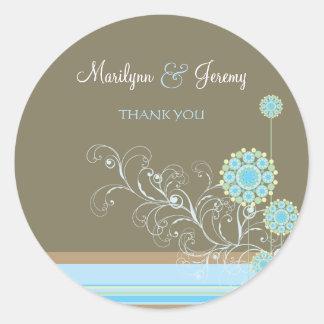 Snow Flower Swirls Blue Thank You / Gift Sticker