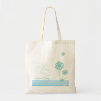 Snow Flower Swirls Blue Wedding Custom Gift Bag