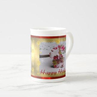 Snow Flowers Porcelain Mugs