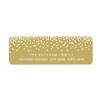 Snow Flurry Holiday Return Adress Labels / Gold