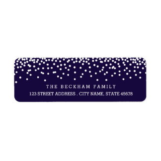 Snow Flurry Holiday Return Adress Labels / Navy