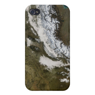 Snow, fog, and low clouds in western Europe iPhone 4 Case