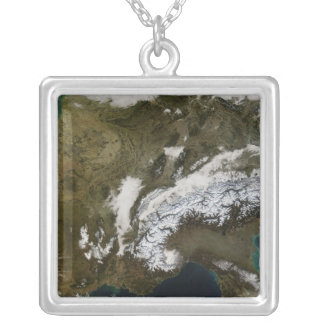 Snow, fog, and low clouds in western Europe Silver Plated Necklace