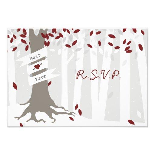 Snow Forest Red Winter Wedding RSVP Invites