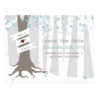 Snow Forest Winter Wedding Save The Date Postcard