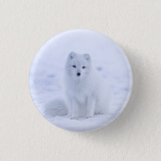 Snow fox 3 cm round badge