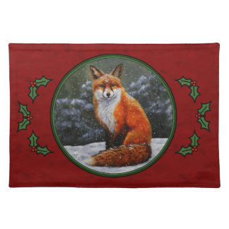 Snow Fox Festive Holiday Red Placemat