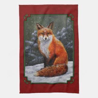 Snow Fox Festive Holiday Red Tea Towel