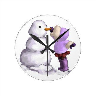 Snow Friend Round Clock