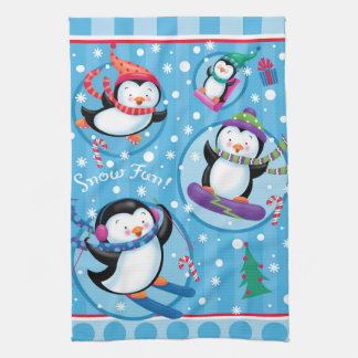 Snow Fun Penguins Kitchen Towel