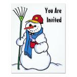 SNOW FUN WINTER BIRTHDAY PARTY INVITATION SNOWMAN 11 CM X 14 CM INVITATION CARD
