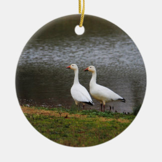Snow Geese by the Pond Round Ceramic Decoration