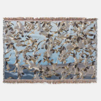 Snow Geese Fill The Sky After Feeding In Barley Throw Blanket