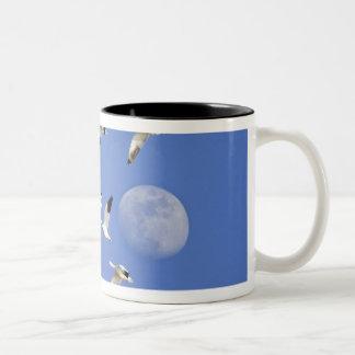 Snow geese take flight at Freezeout Lake NWR Two-Tone Coffee Mug