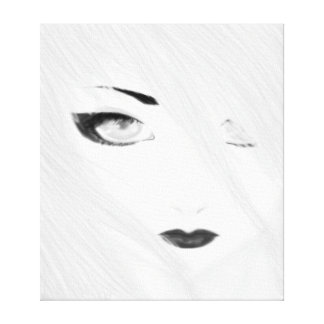 Snow Geisha Black and White Stretched Canvas Print