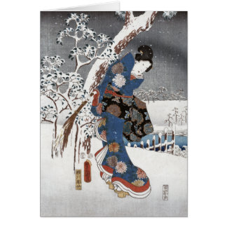 Snow Geisha - Greeting Cards