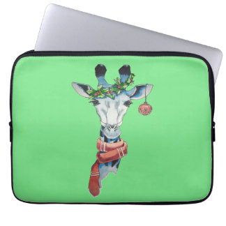 Snow giraffe laptop sleeve