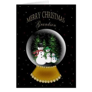 SNOW GLOBE - CHRISTMAS -  GRANDSON CARD