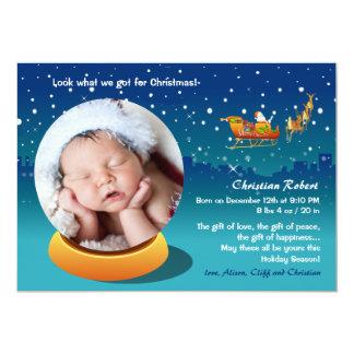 Snow Globe Christmas Photo Birth Announcement