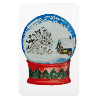 Snow Globe Crystal Ball Winter Village Christmas Rectangular Photo Magnet