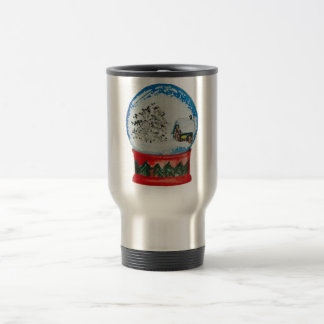 Snow Globe Crystal Ball Winter Village Christmas Stainless Steel Travel Mug