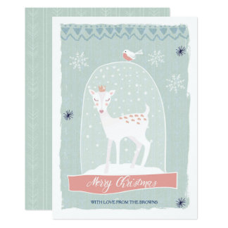 Snow Globe Deer|Merry Christmas Card