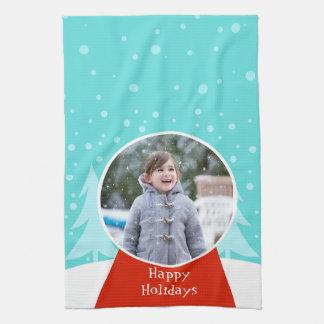 Snow Globe Holiday Photo Kitchen Towel
