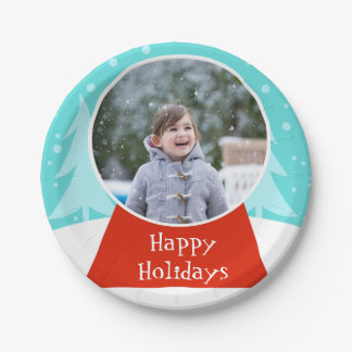 Snow Globe Holiday Photo Paper Plates