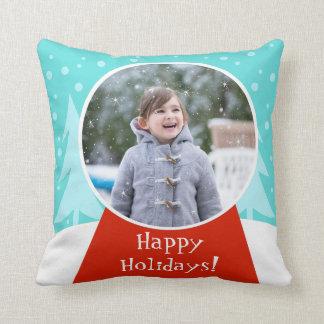 Snow Globe Holiday Photo Throw Pillow