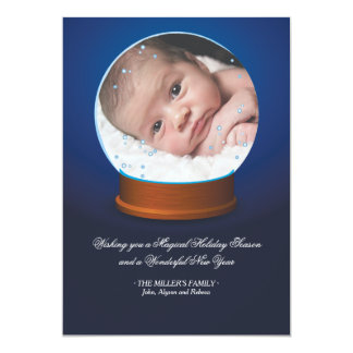 Snow Globe Photo Card 13 Cm X 18 Cm Invitation Card