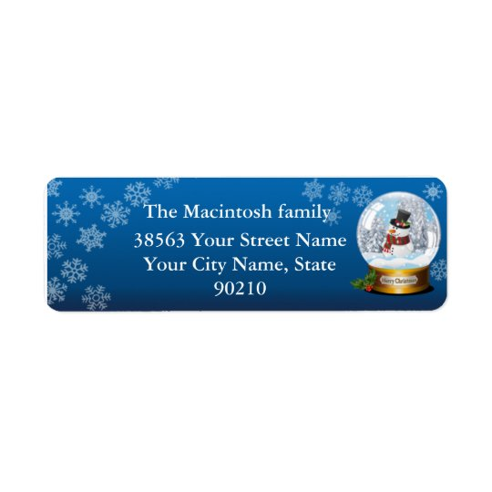 Snow Globe Snow Man Return Address Label