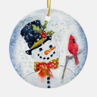 Snow Globe Snowman & Cardinal Christmas Ornament