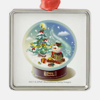 Snow globe with snowman and Christmas tree Christmas Ornament