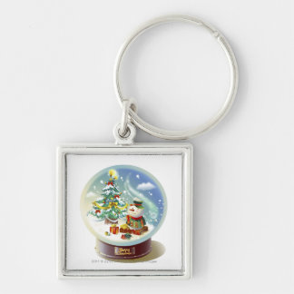 Snow globe with snowman and Christmas tree Key Ring