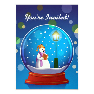 Snow globe with snowman singing 14 cm x 19 cm invitation card