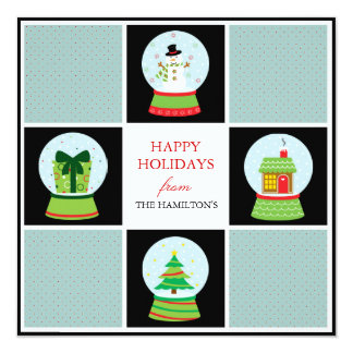 Snow Globes Holiday Cards Custom Announcement