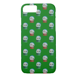 Snow Globes Mixed Pattern on Christmas Green iPhone 8/7 Case