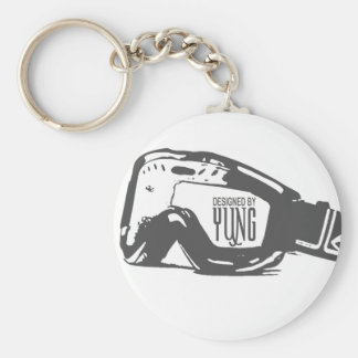 Snow Goggle Basic Round Button Key Ring