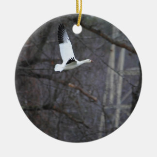 Snow Goose in Flight Double-Sided Ceramic Round Christmas Ornament