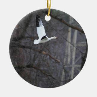 Snow Goose in Flight Round Ceramic Decoration